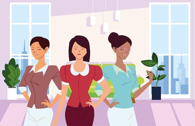 Dessins animés de femmes d'affaires devant la conception de canapé de bureau, la gestion d'entreprise et le thème de l'entreprise