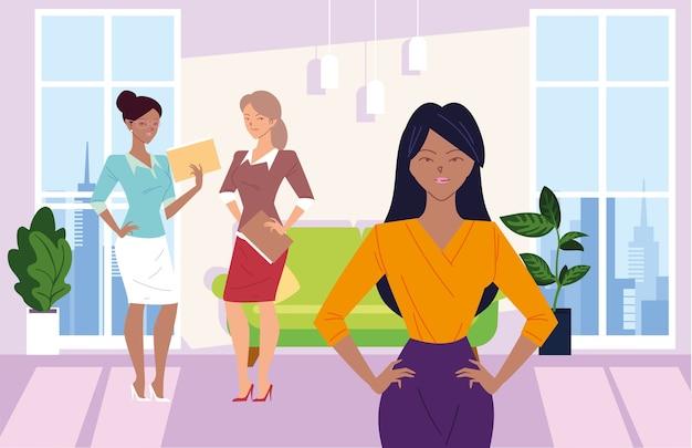 Dessins animés de femmes d'affaires avec des fichiers devant la conception de canapé de bureau, la gestion d'entreprise et le thème de l'entreprise