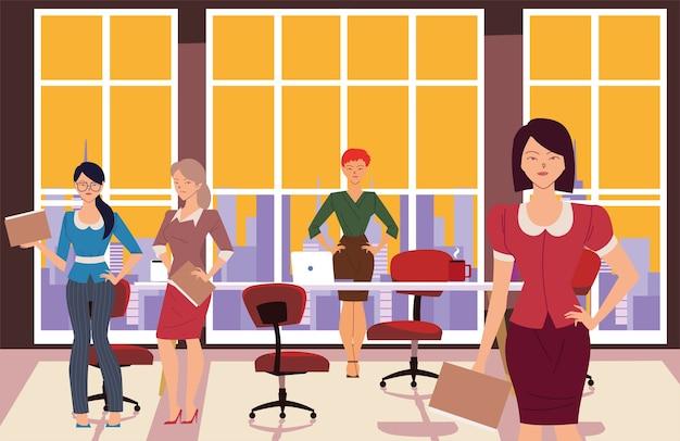 Dessins animés de femmes d'affaires avec des fichiers devant la conception de la table de réunion de bureau, la gestion d'entreprise et le thème de l'entreprise