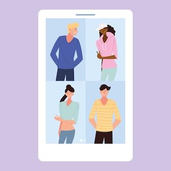 Dessins animés de femmes et d'hommes dans la conception de smartphones, la communication multimédia sur les réseaux sociaux et le marketing numérique