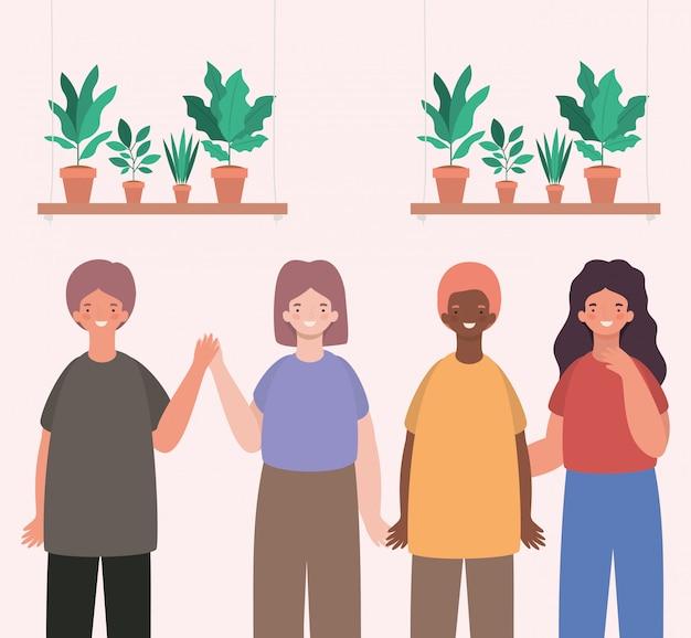 Dessins animés de femmes et d'hommes heureux avec des plantes à l'intérieur de pots