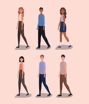 Dessins animés femmes et hommes marchant conception de vecteur