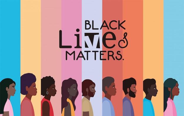 Dessins animés de femmes et d'hommes noirs en vue latérale avec des vies noires compte la conception du texte du thème de la justice de protestation et du racisme
