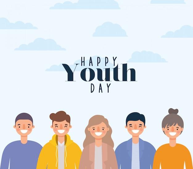 Dessins animés de femmes et d'hommes souriant de la conception de la journée de la jeunesse heureuse, thème des jeunes vacances et de l'amitié.