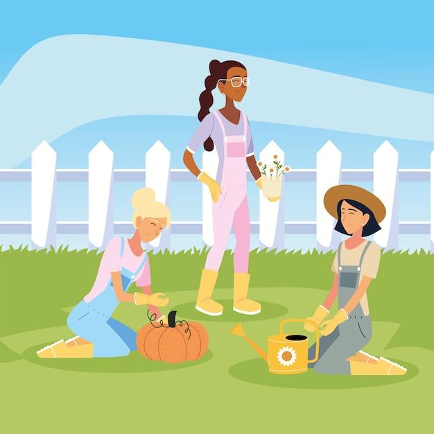 Dessins animés de femmes jardinières avec seau de fleurs de citrouille et arrosoir, plantation de jardinage et nature