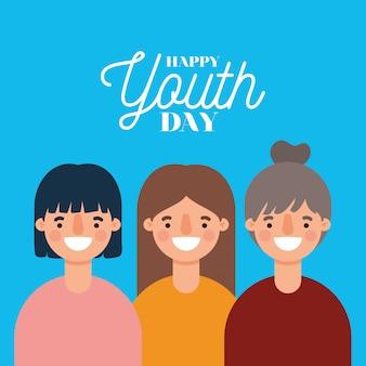 Dessins animés de femmes souriant de bonne journée de la jeunesse