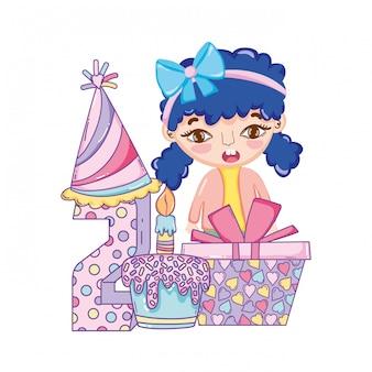 Dessins animés fille joyeux anniversaire