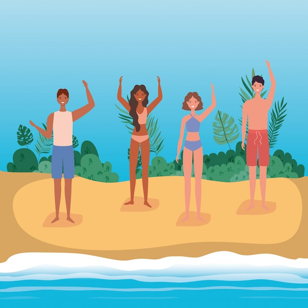 Dessins animés filles et garçons avec maillot de bain à la plage avec des arbustes, dessin vectoriel