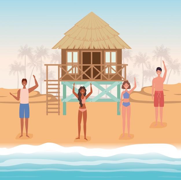 Dessins animés filles et garçons avec maillot de bain à la plage avec conception de vecteur de hutte