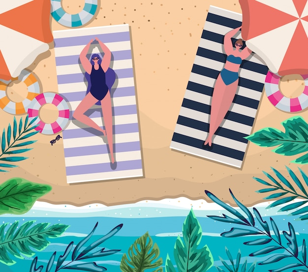 Dessins animés de filles sur des serviettes avec des flotteurs à la conception de la vue de dessus de plage