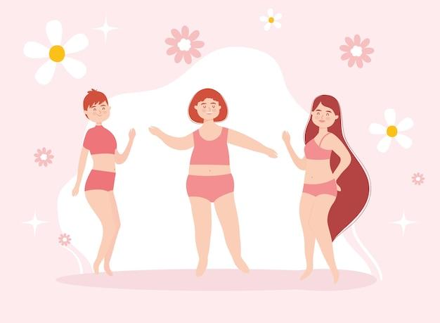 Dessins animés de filles avec des sous-vêtements rouges et des fleurs