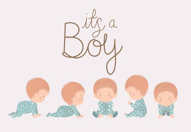 Dessins animés garçons du concept de douche de bébé