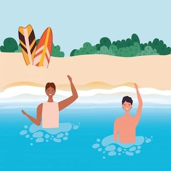 Dessins animés de garçons avec maillot de bain dans la mer en face de la plage avec conception de vecteur d'arbustes