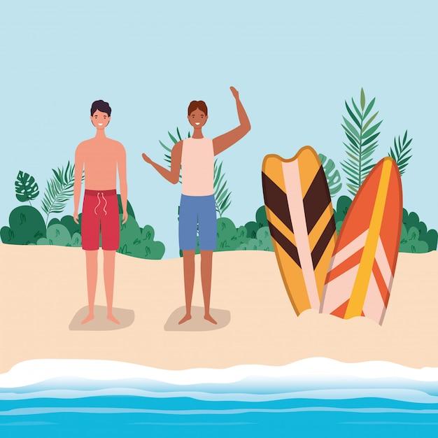 Dessins animés de garçons avec maillot de bain à la plage avec conception de vecteur de planches de surf