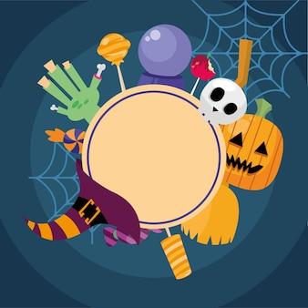 Dessins animés d'halloween autour de la conception de timbres de sceau, thème effrayant