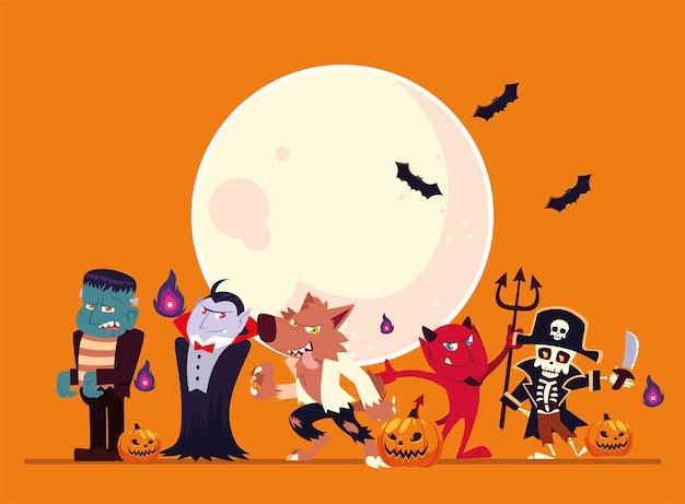 Dessins animés d'halloween avec la conception de la lune et des chauves-souris, thème de vacances et effrayant