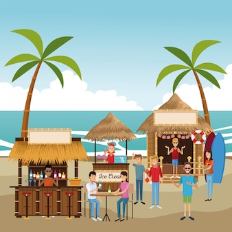 Dessins animés de kiosques de plage