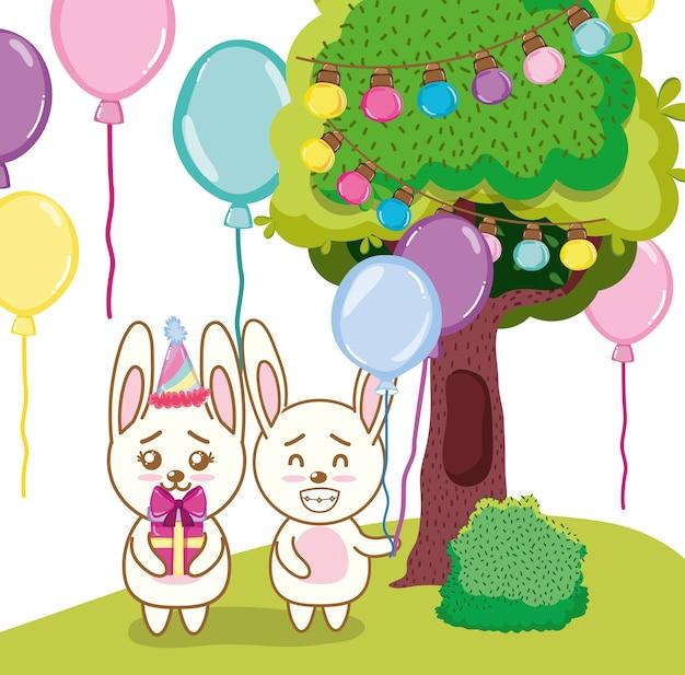 Dessins animés de lapin de joyeux anniversaire