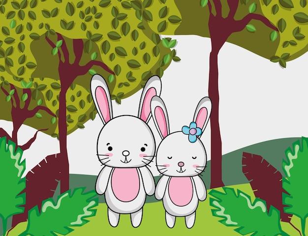 Dessins animés de lapins mignons