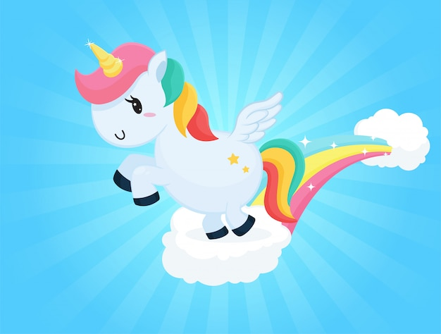 Dessins animés de licorne sautant sur les nuages ciel et lumière du soleil blanche.