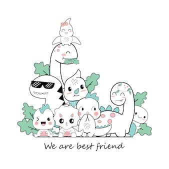 Dessins animés mignon dino qui sont les meilleurs amis