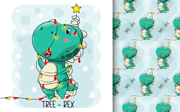Dessins animés mignons de dinosaures transformés en arbre de noël