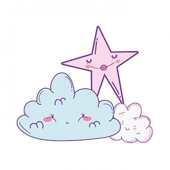 Dessins animés mignons nuages et étoiles