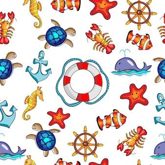 Dessins animés de modèle sans couture de l'océan