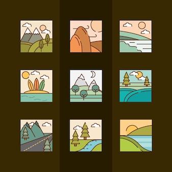 Dessins animés de paysages dans un style linéaire