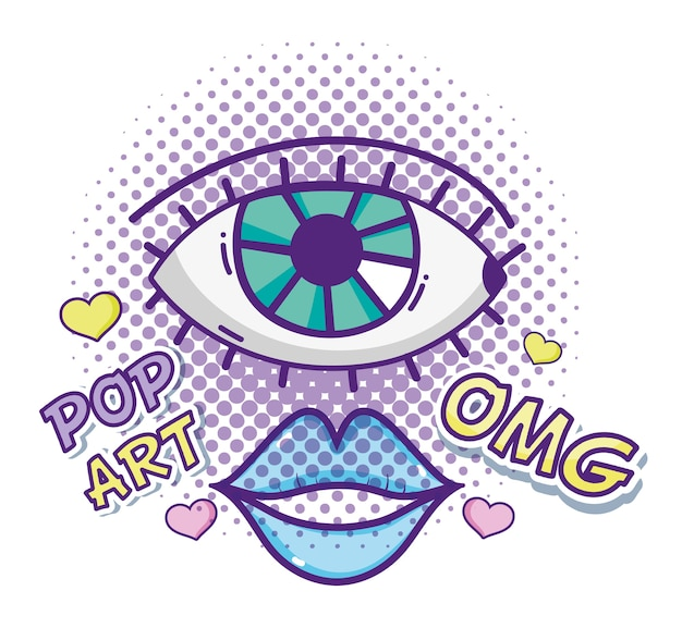 Dessins animés pop art omg vector design graphique