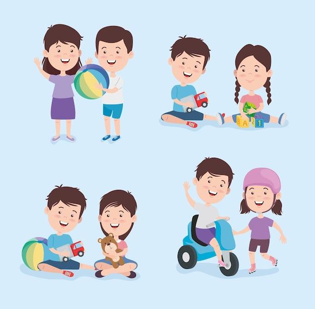 Dessins animés pour enfants avec groupe d'icônes de jouets