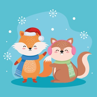 Dessins animés de renard et d'écureuil dans la conception de la saison de noël joyeux, thème de l'hiver et de la décoration