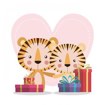 Dessins animés de tigres mignons avec des cadeaux
