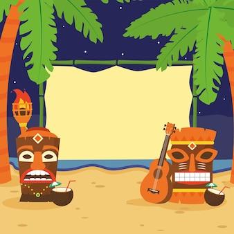 Dessins animés tiki à la conception de la plage de l'illustration de l'été tropical hawaïen