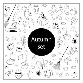 Dessins d'automne. ensemble de croquis dessinés à la main. objets isolés lignes noires sur fond blanc