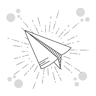 Dessins d'avion de papier de tiroir de main