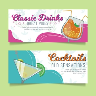 Dessins de bannières de cocktails tropicaux
