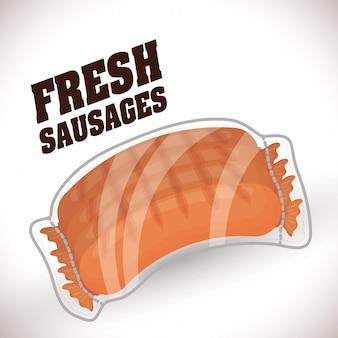 Dessins de barbecue de saucisses fraîches et délicieuses.