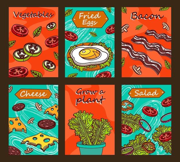 Dessins de brochures lumineuses avec des plats savoureux. légumes tranchés colorés, bacon, œuf au plat et salade verte.