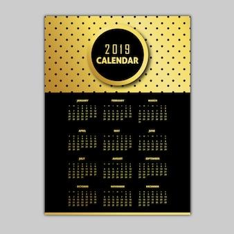 Dessins de calendrier motif noir et or 2019