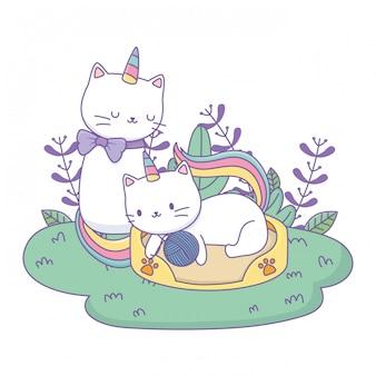 Dessins de chats licorne