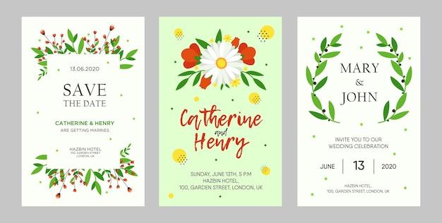 Dessins créatifs d'invitation de mariage avec des fleurs. invitations florales à la mode avec texte. concept de célébration et d'événement. modèle de dépliant, bannière ou flyer