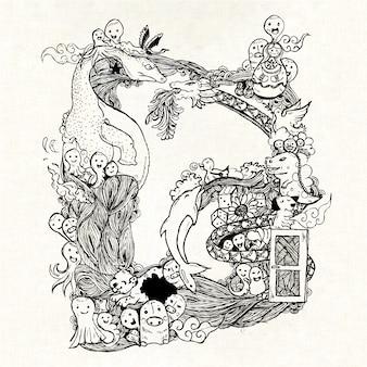 Dessins dessinés lettre d arrière-plan