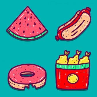 Dessins de doodle de dessin animé alimentaire