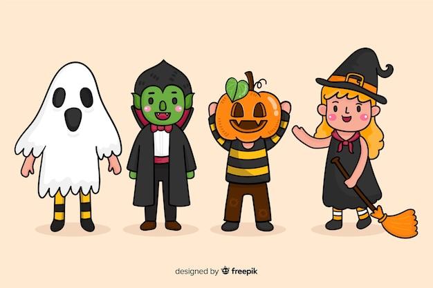 Dessins enfantins de personnages d'halloween