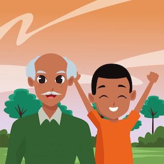 Dessins de famille des grands-parents et des enfants