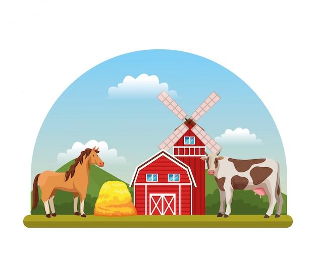 Dessins de ferme paysages ruraux