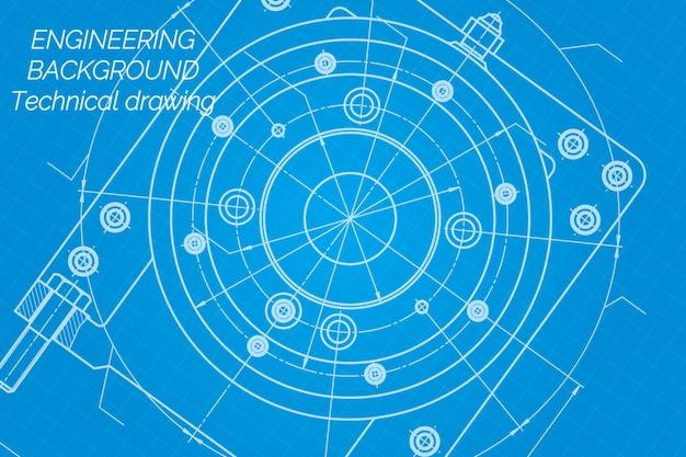 Dessins de génie mécanique sur fond bleu. broche de fraiseuse. conception technique. couverture. plan.