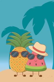 Dessins humoristiques d'été et de fruits