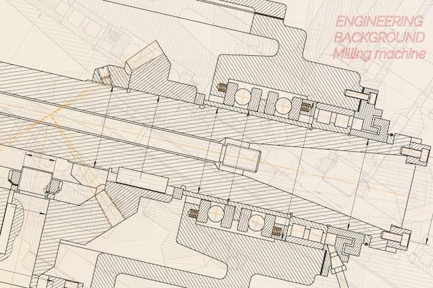 Dessins d'ingénierie mécanique broche de fraiseuse. conception technique.